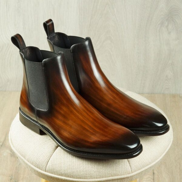 Chlelsea Boots for Men in Brown Patina by Peter Hunt